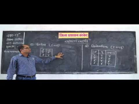 12M1903 IN HINDI Mathematics Boolean Algebra Truth Tables for Logic Gate Functions