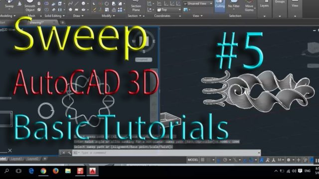 Sweep and Twisted Sweep: AutoCad 3d cad software – online autocad classes part 5